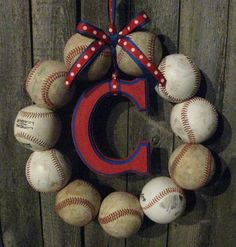 I think I could make this and I love it! Chicago Cubs Baseball Love Wreath.