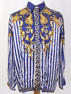 S-Creen Silk Shirt Large Greek Key Persian Royal Blue Striped Golden Baroque #SCreenSilk #ButtonFront