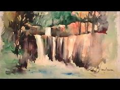 Waterfall Watercolor Painting Tutorial REAL TIME - YouTube