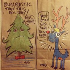 20121129 sketch lunch bags for my sons. #art #sketch #kid #lunch #marker #holidays #reindeer #pine #tree