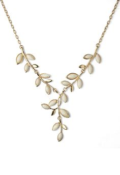 Ivy Leaf Stone Necklace - Accessory - Retro, Indie and Unique Fashion