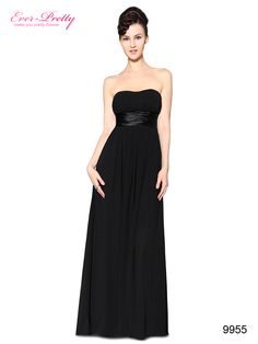 Strapless Ruched Bust Black Chiffon Long Evening Dress