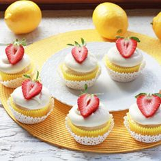 Lemon Cupcakes with Lemon Cream Frosting.