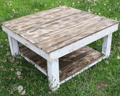 White Shabby Farmhouse Reclaimed Wood Coffee Table with Shelf - Square Coffee Table - Barnwood Table - Rustic Table - Upcycled Pallet Wood