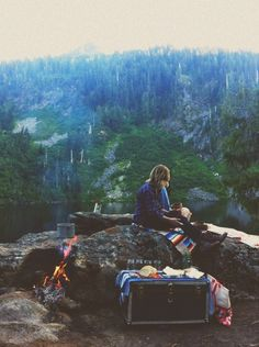 This may be my favorite picture of a place for quiet. Out in nature...with a few needed comforts like food and drink. Wonder what she is pondering?