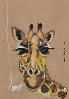 Buy Smoking giraffe Pastel drawing by Pavel Kuragin on Artfinder. Discover thousands of other original paintings, prints, sculptures and photography from independent artists. Girraffe Painting, Pastel Drawing, Pet Birds, Giraffe, Smoking, Original Paintings, Sculptures, Collage, Artists