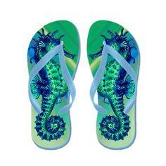Turquoise Seahorses Flip Flops