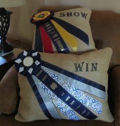 Dog show ribbon crafts Horse Ribbon Display, Show Ribbon Display, Horse Show Ribbons, Ribbon Projects, Ribbon Crafts, Ribbon Diy, Ribbon Storage, Equestrian Decor, Equestrian Style