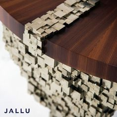 Detail Ruth Table in pyrite & pine. Cubic pyrite responds to the softness of the wood table top. Designed by Jallu, pyrite furniture, Jallu Creations 2021, interior design, superyacht interiors, luxe, french craftsmanship, bespoke furniture, custom furniture, made in France, interior design inspiration, design inspiration Bespoke Furniture, Wood Furniture, Furniture Design, Surface Finish, Wood Surface, Most Popular Image, Made In France, Interior Design Inspiration, Wood And Metal
