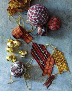 Martha Stewarts's Ribbon Pennant Ornaments using plaid ribbon from M&J Trimming!