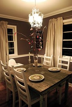 Brown Walls Of This Dining Room Paint French Country Farmhouse