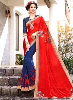 Buy Attractive Patch Border Work Half N Half Trendy Saree   #sarees #saree #sari #designersaree #sareebuzzlove #sareebuzz #weddingsarees #weddingfashion