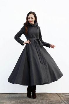 Dark Grey Coat with a Big Hood / Women Wool by Sophiaclothing