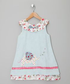 Take a look at this Blue Elephant Corduroy Dress - Infant, Toddler & Girls on zulily today!