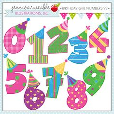 Birthday Girl Numbers V2 Cute Digital Clipart by JWIllustrations