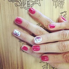Pink Gel nails with flower nail art