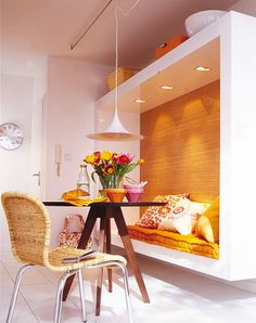 how to make small spaces appear larger?    1. Decorate with easily moveable or built-in furniture.  2. Use ceiling lights that do not obstruct space.   3. Decorate with minimal amounts of accessories.   4. Install sliding doors instead of normal doors.