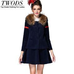 S- 5XL Winter 2 Piece Set Wool Jacket With Fur Collar A-line Mini Skirt Like it? www.artifashion.n... #shop #beauty #Woman's fashion #Products