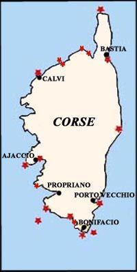Map of Corsica (Corse) ~ France