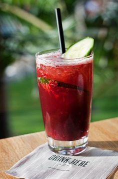 Get in vacation mode with the Port of Call, made with Quinto do Noval Black Port, muddled strawberries, lemon juice, and soda water. Try one at Marina Kitchen tonight!