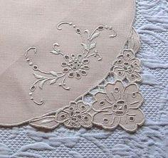 Em's Heart -Vintage Linen Madeira Embroidered Mats Napkins Runner Set