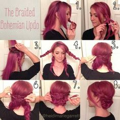 Braided Bohemian Updo Hairstyle Tutorial for Purple Hair Braided Hairstyles are favored by women and they're the perfect hairstyles for the lovely spring days. Braids will make your authentic coiffure look f. My Hairstyle, Pretty Hairstyles, Hairstyle Ideas, Cute Bun Hairstyles, Love Hair, Gorgeous Hair, Beautiful Braids, Coiffure Hair, Bohemian Hairstyles