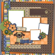 Puppy Days scrapbook layout Cricut