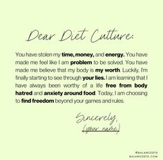 Ready to break up with diet culture? ⁣⠀⠀⠀⠀⠀⠀⠀⠀⠀ ⁣⠀⠀⠀⠀⠀⠀⠀⠀⠀ If you wrote a letter to diet culture, what would it say? ⁣⠀⠀⠀⠀⠀⠀⠀⠀⠀ ⁣⠀⠀⠀⠀⠀⠀⠀⠀⠀ Comment below if you are ready to find freedom 🙌 Body Positive Quotes, Positive Body Image, Words Of Affirmation, Life Quotes, Career Quotes, Dream Quotes, Success Quotes, Quotes Quotes, Eating Disorder Recovery