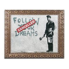 Trademark Fine Art Cancelled Dreams Canvas Art by Banksy, Gold Ornate Frame, Size: 16 x 20, Multicolor