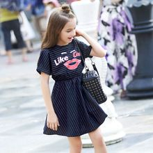 2016 Children Fashion Cute Dresses Bulk Kids Clothes for Girls Red Lips Design for Teens Age 5 6 7 8 9 10 11 12 13 14T Years Old(China (Mainland))