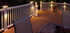 Flat Top LED Post Sleeve Cap in White and Post Sleeve Light in White, Horizon Provincial:  we will only use the down cast lighting on the posts & the deck itself will be grey