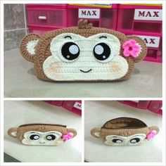 Crochet monkey purse pattern (FREE)     Materials:     Milk cotton aran yarn or 10 ply yarn– Brown, cream, white, black     Crochet H...