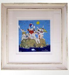 """Lisandro Rota (1946), """"Vacanza sull'isola"""" Giclée ritoccata a mano, cm 17,5X17,5 cm (+ cornice 37X37) tiratura 200 es.  € 100,00 cornice artigianale inclusa"""
