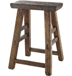 "Reclaimed Rustic Pine Stool: Item #D1208Z020907; $148.00 ;Shaker-style simplicity and rustic pine stool-90% reclaimed pine; Sizes vary with widths between 14"" and 18"" and heights between 18"" and 21-1/2""; natural variations in the pine."