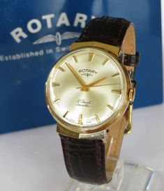 Vintage Watches Collection : Gents gold Rotary wrist watch, 1966 - Watches Topia - Watches: Best Lists, Trends & the Latest Styles Dubai Gold Jewelry, Mens Gold Jewelry, Emerald Jewelry, Mens Diamond Stud Earrings, Rotary Watches, Vintage Watches, Antique Watches, Hand Watch, Watch Companies
