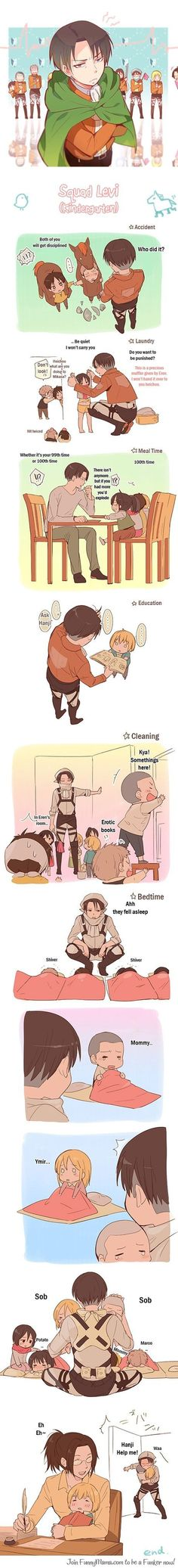 """Attack on kindergarteners"" This is to much for me. (´∀`)♡ I love Eren and Jean~ and Historia (づ ̄ ³ ̄)づ:"