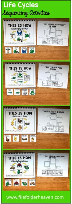 These Life Cycles Sequencing Activities include 4 Adapted Books and 4 accompanying worksheets. Each of the Adapted Books teaches a simple 4 step life cycle for each of the following animals and/or insects:  butterfly, frog, chicken, and ladybug. All of the books include hands-on interaction with the text and reinforce sequencing skills.  Adapted Books Included:    This Is How a Butterfly is Born This Is How a Frog is Born This Is How a Ladybug is Born This is How a Chicken is Born