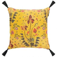 Gypsy Ochre Linen Cushions from the Nomad Story collection by MINDTHEGAP are a yellow cushion design with a red, pink, purple, and blue floral print. Shop now! Beautiful Interior Design, Beautiful Interiors, Yellow Cushions, Natural Linen, Beautiful Patterns, Unique Vintage, Hibiscus, Design Trends, Gypsy