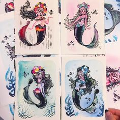 The set of Día De Los Muertos mermaids are now in my Etsy shop. Limited Edition prints are also available.  #DiaDeLosMuertosMermies