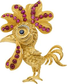 Buccellati Ruby, Sapphire, Diamond, Gold Brooch gold with approximately carats total weight of - Available at 2014 September 22 Fine Jewelry. Bird Jewelry, Animal Jewelry, Cute Jewelry, Vintage Jewelry, Gold Brooches, Diamond Brooch, Schmuck Design, Pet Birds, Sapphire Diamond