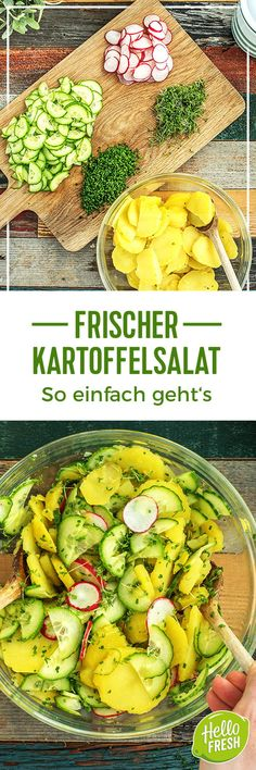 Unsere frischen Salate zum GrillenRecipe: Fresh salads for grilling - perfect for the barbecue season, summer party, picnic or summer dinner. Try our vegetarian green salad and fresh potato salad. Both salads are healthy and colorful! Vegetarian Salad Recipes, Salad Recipes For Dinner, Vegetarian Lunch, Healthy Recipes, Beginner Vegetarian, Vegetarian Lifestyle, Snacks Recipes, Barbecue Recipes, Grilling Recipes