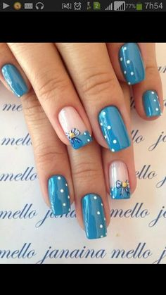 """If you're unfamiliar with nail trends and you hear the words """"coffin nails,"""" what comes to mind? It's not nails with coffins drawn on them. It's long nails with a square tip, and the look has. Easter Nail Designs, Blue Nail Designs, Best Nail Art Designs, Spring Nail Art, Spring Nails, Summer Nails, Blue Nails, My Nails, Short Nails Art"""