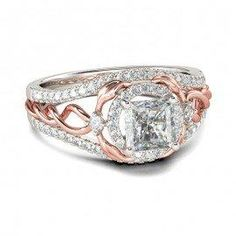 #Jeulia - #Jeulia Two Tone Halo Asscher Cut Created White Sapphire Engagement Ring - AdoreWe.com