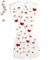 #59 Red Hearts Baby Leg Warmers for Baby or Girl By My Little Legs