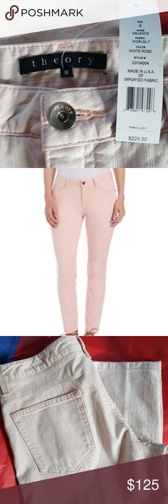 theory NWT~ Light Pink ~White Rose. Dalience Name. Style #C0104204 98% Cotton 2% Elastine Theory Jeans Skinny