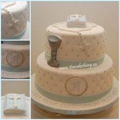 First Holy Communion cake for a boy. The client requested a bible, chalice and rosary on the cake. Pale blue, white and silver to match her theme. I used a crimper on the cake and board and liked the delicate effect it created. Boys First Communion Cakes, Boy Communion Cake, First Communion Decorations, First Communion Party, Comunion Cakes, Cake Paris, Confirmation Cakes, Christening Cakes, Religious Cakes