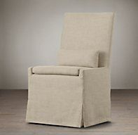 Belgian Slipcovered Track Arm Dining Side Chair | Fabric Arm & Side Chairs | Restoration Hardware