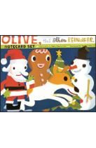 Olive, the Other Reindeer Notecard Set: 16 Die-Cut Cards with Envelopes and Stickers, 2 each of 8 designs