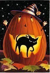 """Jack-O-Black Cat Halloween Garden by Custom Décor, Inc.. $5.99. Flag Measures Approximately 12"""" x 18"""". Garden Flag Outdoor Décor. Bright Beautiful Artwork. Permanently Dyed with a Vivid Color Process. 100% Polyester - Fade & Mold Resistant. ################################################################################################################################################################################################################################..."""