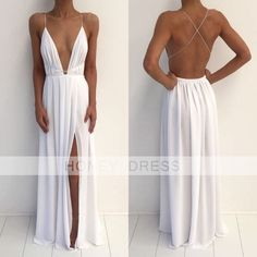 Image of White Chiffon V Neck Backless Open Back Evening Dress With Slit